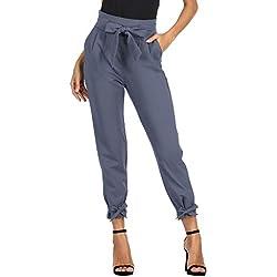 GRACE KARIN Pantalon Femme avec Ceinture à Nouer Pants Casual Carotte élégant Bureau avec Bow Knot Chic Taille Haute Bleu-Violet S CL903-5