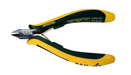 Bernstein Werkzeug GmbH 3-653-15 Mini-Seitenschneider EUROline, 120 mm, mit flach-abgesetzter Schneide, ohne Wate, ableitfähige zweifarbige Handschutzhüllen