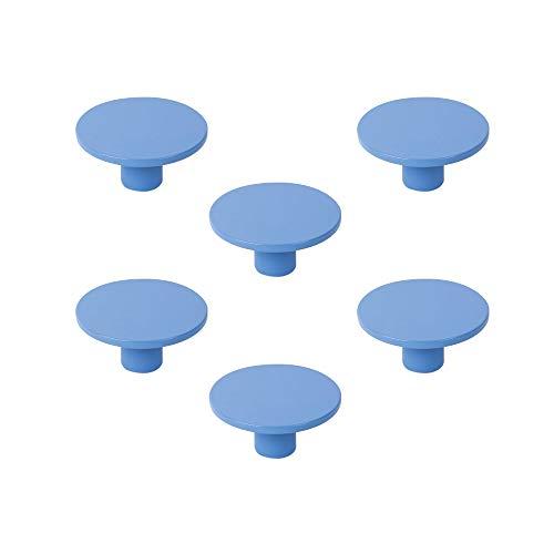 POMOLINE 6 Un. Tirador Pomo Mueble Infantil Resina ABS Pintado Azul -...