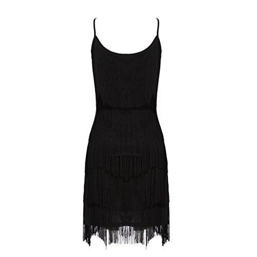 ... 20er Fransenkleid Flapper Kleid Hochzeitkleid Club Latein Tanz kleid  Partykleid Minikleid Cocktailkleid Charleston Kleid Schwarz c3446d4e9e