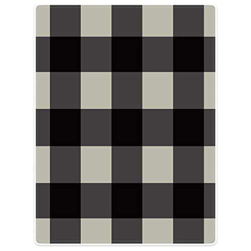 YISUMEI Decke 80x120 cm Kuscheldecken Sanft Flanell Weich Fleecedecke Stilvolle Einfachheit Beige Schwarz Tartan Plaid Pattern,Grau -