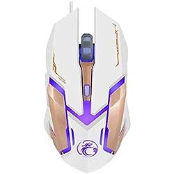 dulawei3 IMICE V6 LED 6 Boutons réglables 2400 DPI USB Souris Optique de Bureau Filaire pour Ordinateur Portable Blanc