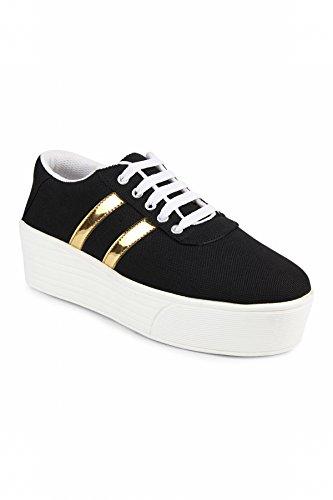 Zapatoz Womens Fabric Black Color Casual Shoe