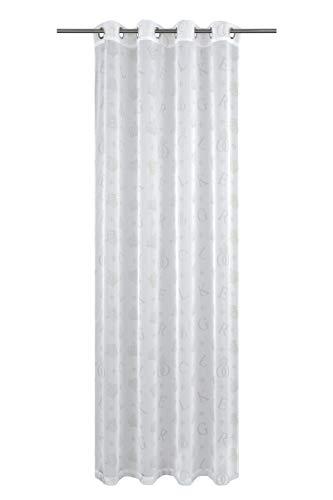 Löscher-Tirol Voile Bedruckt mit 8 Silberösen Ösenschal, Stoff, Weiß, 245 x 140 x 1 cm