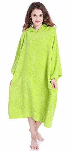 Winthome Kapuzentuch für Erwachsene Herren Damen Bademantel mit Kapuze Beach Farbwechsel Beach poncho handtuch Schwimmen grau (green)