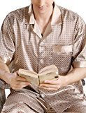 EDTara Men's Luxurious Sleepwear Silk Satin Pajamas Set Button-Down Loungewear Includes Top & Pants Champagne...