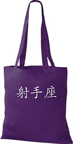 ShirtInStyle Stoffbeutel Chinesische Schriftzeichen Schütze Baumwolltasche Beutel, diverse Farbe purple