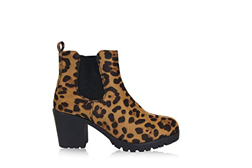 Frentree Damen Stiefeletten- Chelsea Boots- Ankle Boots mit Blockabsatz, Schwarz, Größe:37, Farbe:Leopard - Ankle Boots Leopard