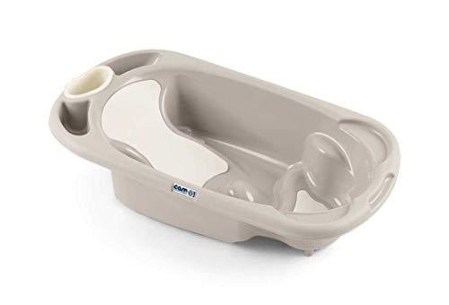 CAM Babybadewanne Baby Bagno ❤ große Babywanne (97 cm) mit 2 Sitzpositionen   Antirutschmatten   Ablage für Utensilien   Inklusive Dusche für Ihr Kind (Braun)