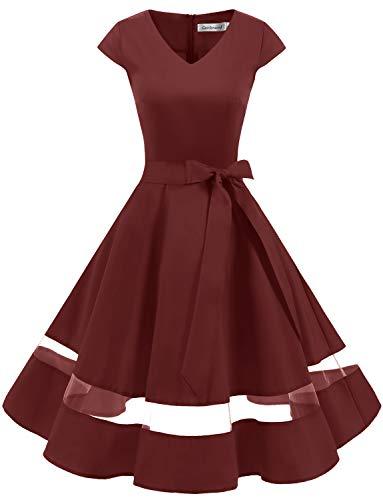 tage Retro Rockabilly Kleider Petticoat Faltenrock Cocktail Festliche Kleider Cap Sleeves Abendkleid Hochzeitkleid Burgundy L ()