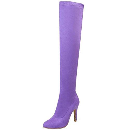 TAOFFEN Femmes Bottes A Enfiler purple