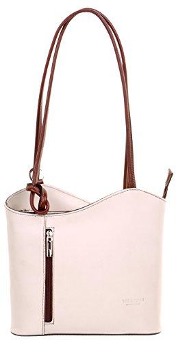 bcf15a9c0 Primo Sacchi® Ladies Italian Leather Hand Made Cream and Brown Handbag,  Shoulder Bag or