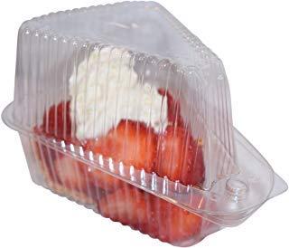 Scharnier, klar single-slice Pie/Kuchen/Käsekuchen Container (High Dome Deckel)-20Stück -