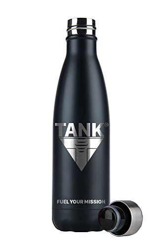 TANK Sports Bottle - Keep Your Drinks Chilled for 24 hours or Heated for 12 for Sports, Gym, Running, Hiking, Bushcraft, Camping, Climbing, Cycling, Fishing and Other Outdoor Adventures - Leak-Proof Double Wall Reinforced Stainless Steel Water & Drinks Bottle - Kit, Equipment, Gear, Essentials, Cardio, Strength 500ml