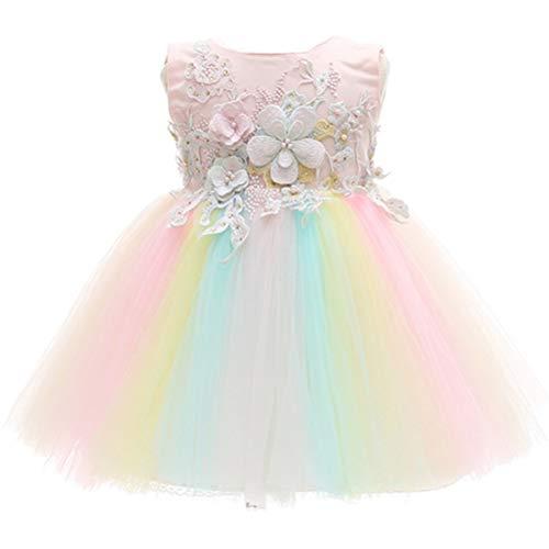 Monimo Baby Mädchen Prinzessin Regenbogen Kleid Hochzeit Partykleid Festzug Babybekleidung