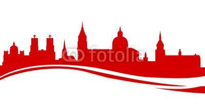 """Poster-Bild 130 x 70 cm: """"Skyline Salzburg rot"""", Bild auf Poster"""