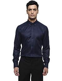 aba59971810 MODA HOMBRE Menswear Midnight Blue Herringbone Shirt with Button Down Collar  and French Cuff