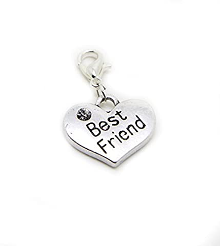 Best Friend Silver tone Heart with white rhinestone Gift Dangle Bead for Silver European Charm Bracelets Clip on Charm chain link bracelet (silver clip on) (silver clip on)