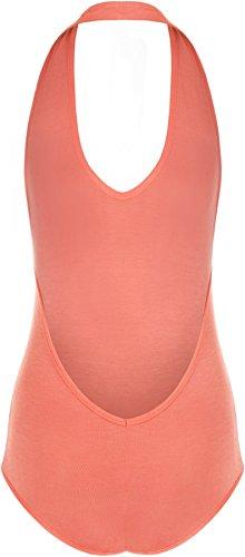 WearAll - Damen Übergröße Stretch Neckholder ärmelloses Top-Body - 9 Farben - Größe 44-50 Koralle