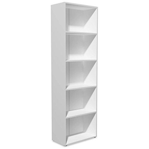 Festnight libreria moderna in truciolato di quercia rovere/bianco con 2/3/4/5 ripiani da ufficio/soggiorno/salotto 60 x 31 x 6,5 cm/60 x 31 x 116,5 cm/ 60 x 31 x 155 cm/ 60 x 31 x 190 cm