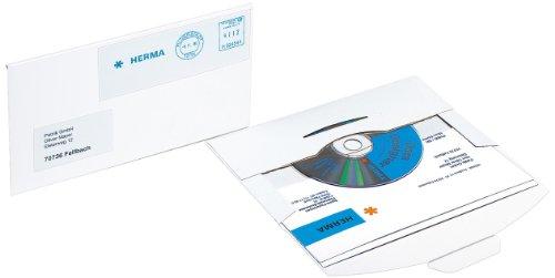 Herma 2001 CD-PostPack Versandkuvert (mit Steckverschluss, Karton, 220 x 124 mm) 25 Stück weiß