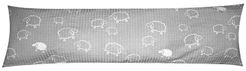 Heubergshop Seersucker Seitenschläferkissen Bezug 40x145cm - Schafe Lämmer Grau Weiß - Öko-Tex 100% Baumwolle Stillkissenbezug (SB-99/7)