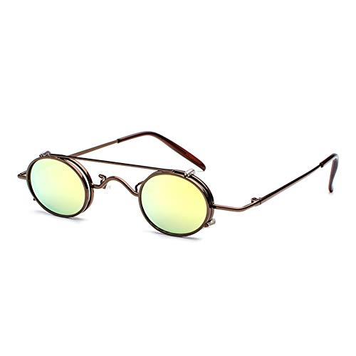 CCGKWW Steampunk Sonnenbrille Männer Frauen Oval Clip On Sonnenbrille Metall Gothic Glas Oculos Vintage