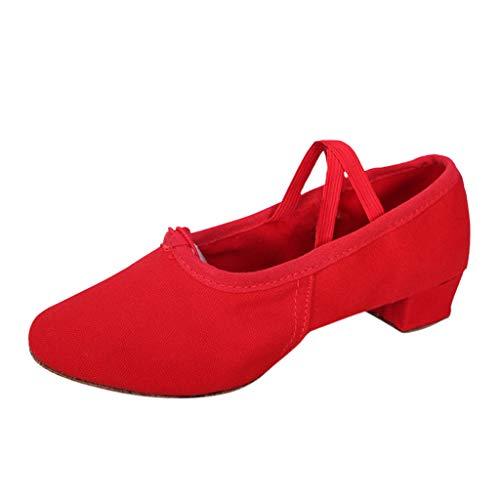 BHYDRY Scarpe Donna Dancing Rumba Valzer Ballo Liscio Ballo Latino Balletto Singles Scarpe(39 EU,Rosso)