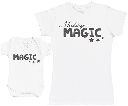 Making Magic - Ensemble Mère Bébé Cadeau - Femme T Shirt & bébé Bodys - Blanc - M & 3-6 Mois
