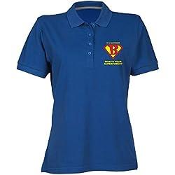 T-Shirtshock Polo para Mujer Azul Royal BEER0176 Bartender Superhero