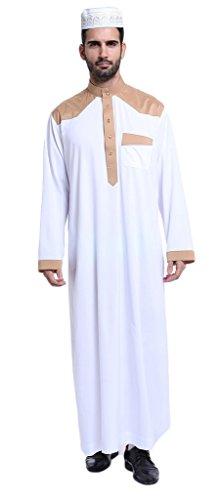 Auspicious beginning Saudi-arabische Männer Hit Farbe Langarm Thobe Muslim Solid Color Islamische Full Cover Kurta (Muslimischen Kostüm Für Männer)