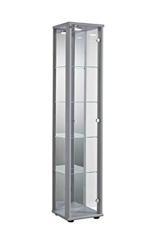Markenlos Glasvitrine Sammlervitrine Vitrine LED beleuchtet Schloß Spiegel Weiss Schwarz Silber (Silber/Alu) -