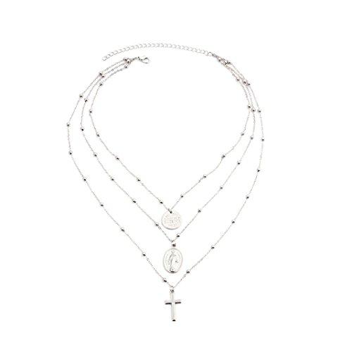Schmuck,Trada Religiöse Art Multi Kette Halskette Kreuz Jungfrau Maria Anhänger Halskette für Frauen damenschmuck modeschmuck ketten halskette accessoires billiger modeschmuck für frauen (Silber)