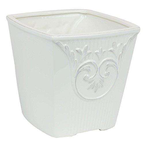 Keramiktopf 19 x 19 cm weiss Blumentopf Übertopf shabby Vintage Topf