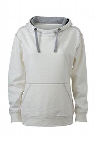 James & Nicholson Damen Sweatshirt Kapuzensweatshirt Ladies' Lifestyle Hoody weiß (off-white/grey-heather) Large -