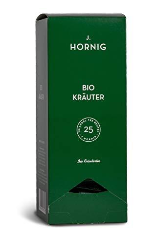 J. Hornig Bio Kräutertee, Tee im biologisch abbaubaren Pyramidenteebeutel, 25 Tee-Sachets, natürliche Kräuterteemischung ohne zugesetzte Aromen