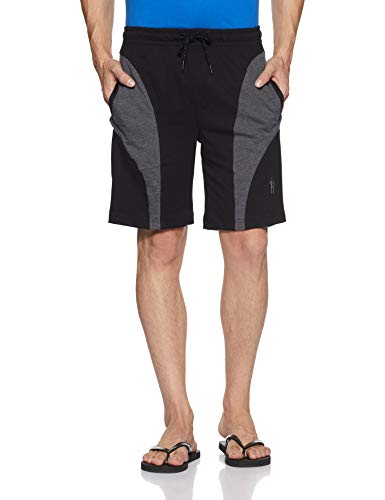 Jockey Men's Cotton Sport Shorts (9411_Black & Charcoal Melange_Large)