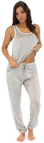 Pajama Heaven Damen Zweiteiliger Schlafanzug aus Viskose mit ärmellosem Oberteil und Hose Grau