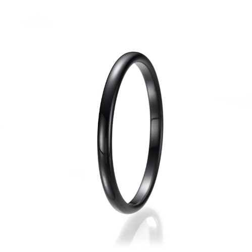 Diamond Black Wedding Herren Ring (2mm Black High Polish Unisex Tungsten Wedding Ring)