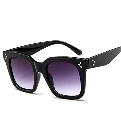 DANANGUA Quadratische Art- Und Weiseluxussonnenbrille-Frauen-Markendesigner-Mann- / Frauen-Gläser Klassischer Weinlese UV400 Im Freien (Lenses Color : Black double Gray, Size : M)