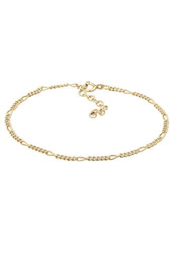 Elli Damen Echtschmuck Armband Armkettchen Figaro Basic in 925 Sterling Silber vergoldet 16 cm Länge