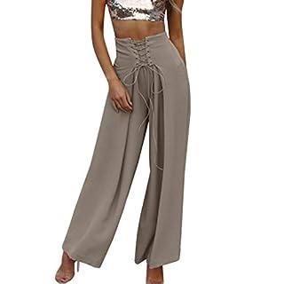 iYmitz Damen Einfarbig Hose Hohe Taille Breites Bein Culottes Hosen Yoga Harem Baggy Lose Hosen(Grau,EU-38/CN-M)