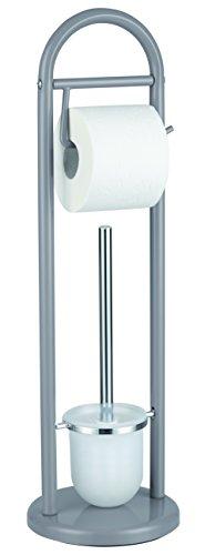 SANWOOD WC-Bürstengarnitur mit Papierrollenhalter, Metall, grau 19 x 63 x 19 cm