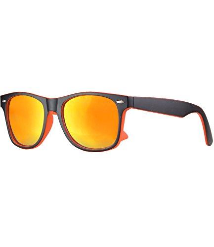 caripe Wayfarer Sonnenbrille verspiegelt - SP (schwarz orange matt - sun verspiegelt)