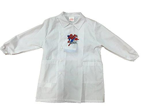 Grembiule grembiulino bianco spiderman marvel scuola asilo materna elementare (tg.50)