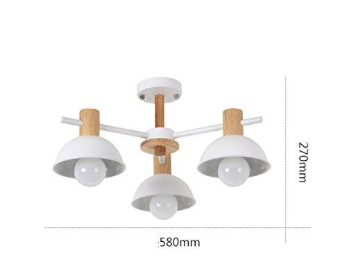 pllp Nordic Minimalistische LED Schlafzimmer Beleuchtung, Moderne Kreative Persönlichkeit Studie Beleuchtung, Wohnzimmer Esszimmer zweites Schlafzimmer Schmiedeeisen Deckenleuchte,Weiß,3 Köpfe (Schmiedeeisen Deckenleuchten)
