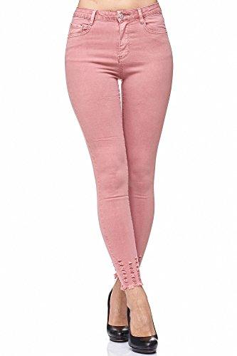 Elara Damen Jeans Hose stretch  High Waist   Skinny Röhrenjeans  Slim Fit   Hochschnitt  Chunkyrayan Rosa