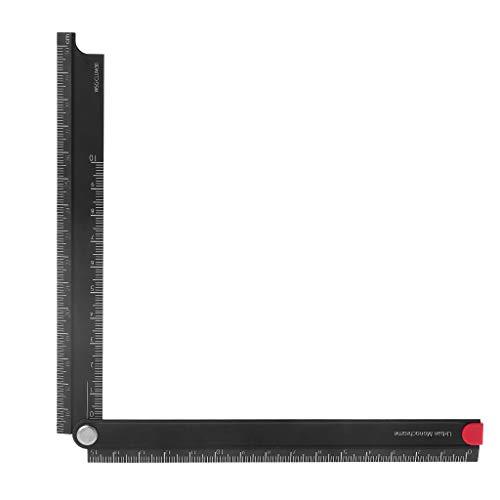 ZChun Règle pliante en alliage d'aluminium de règle pliante simple de règle à 90 ° en métal de 15cm-30cm