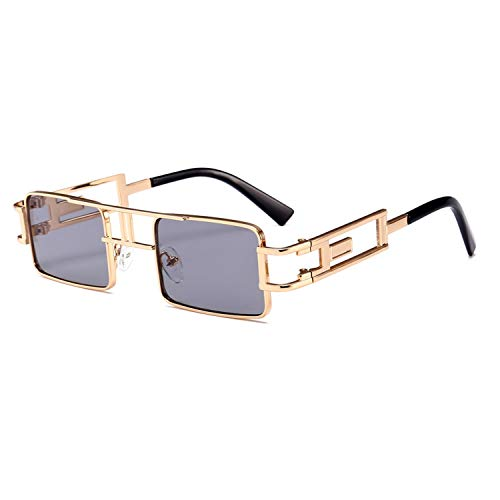 Daawqee Prämie Sonnenbrillen,Brillen,Mens Rectangular Sunglasses Steampunk Men Metal Frame Gold Black Red Flat Top Square Sun Glasses For Women NEW as show in photo clear yellow