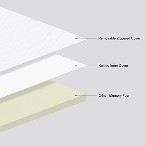 LANGRIA 2 Inch/5cm Memory Foam Mattress Topper with Breathable and Removable Cover, Single Size, Pure White